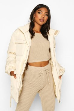 Tall Belted Padded Coat - White - 10