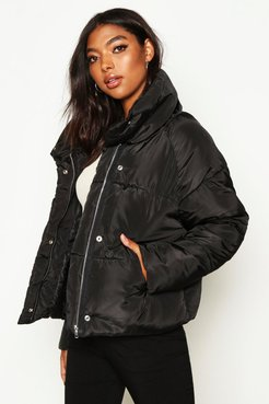 Tall Crop Padded Funnel Neck Jacket - Black - 10