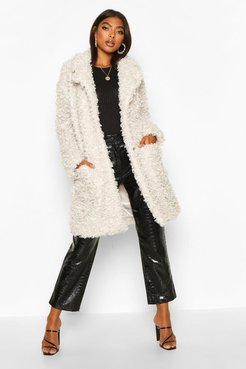 Tall Faux Fur Oversized Collar Coat - White - 2