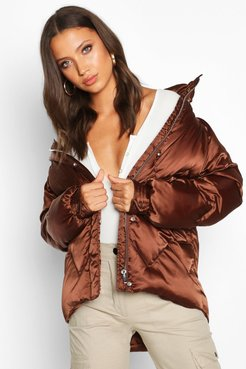 Tall Satin Padded Jacket - Brown - 4