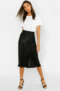 Tall Bias Cut Satin Midi Skirt - Black - 4