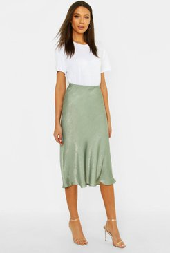 Tall Bias Cut Satin Midi Skirt - Green - 10
