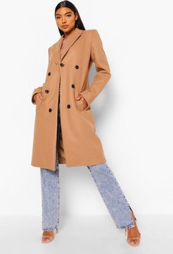 Tall Double Breasted Coat - Beige - 8