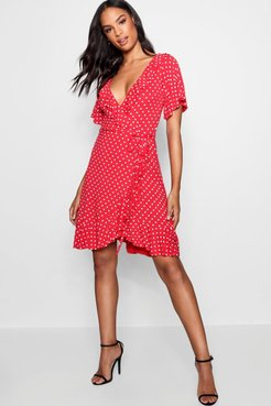 Tall Hannah Polka Dot Wrap Dress - Red - 6