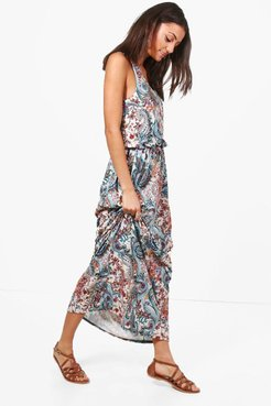 Tall Elise Paisley Print Twisted Maxi Dress - Multi - 14