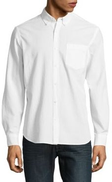 Textured Button-Down Cotton Shirt
