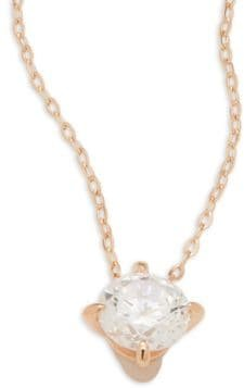 Rose Goldtone Small Solitaire Pendant Necklace