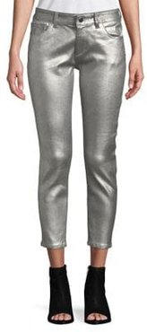 Metallic Cropped Jeans