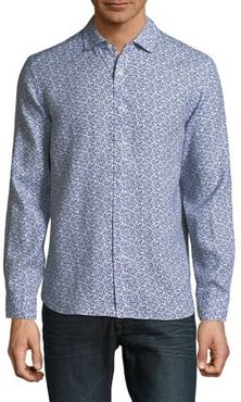 Long-Sleeve Printed Linen Button-Down Shirt