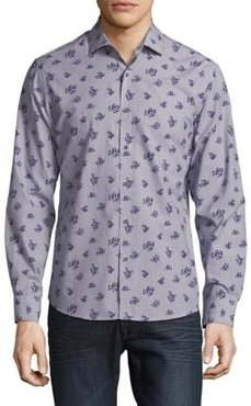 Slim-Fit Floral Cotton Button-Down Shirt