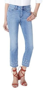 Sheri Palm Dot Embroidered Jeans