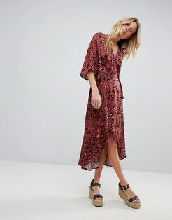 Leopard Print Wrap Maxi Dress With Flutter Sleeves - Multi