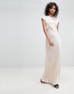bridesmaid capped sleeve satin maxi dress with knot front - Cream