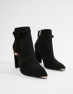 Black Suede Heeled Ankle Boots with Bow - Black