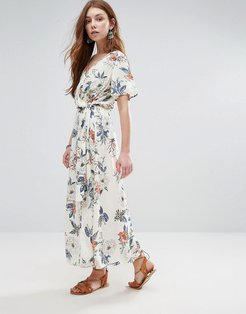 Mink Pink Garden Party Wrap Front Maxi Dress - Red