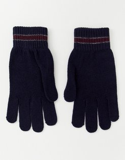 Pairs knitted gloves with stripe - Green