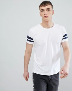 Regular Fit T-Shirt In White With Navy Arm Stripe - White