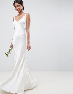 bridesmaid maxi dress with cowl back - White