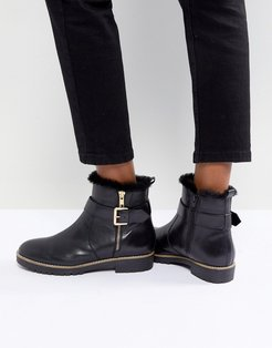 Leather Flat Side Zip Buckle Strap Boot - Black