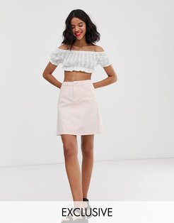 denim mini skirt in washed pink - Pink