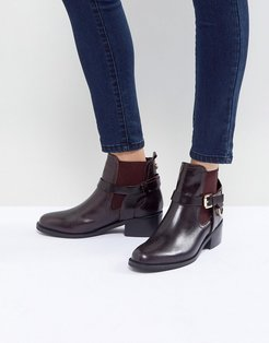 Saddle Leather Buckle Flat Ankle Boots - Red
