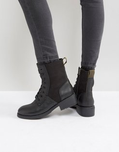 Military Lace Up Boot - Black