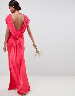 capped sleeve maxi dress - Red