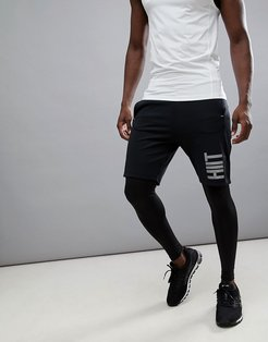 Shorts With Reflective Logo In Black - Black