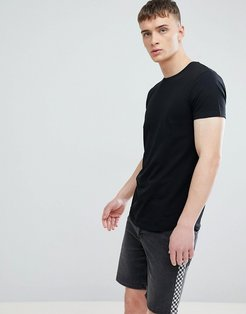 Longline Muscle Fit T-Shirt In Black With Curved Hem - Black