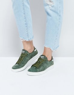 Game Low Sneakers In Khaki Suede - Green