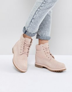 6 Inch Premium Rose Suede Flat Boots - Pink