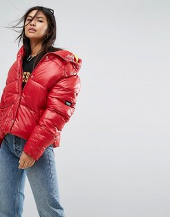 Oversized Jacket With Hood - Red
