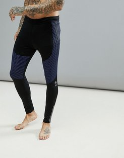 Running Tights With Reflective Zip Detail In Black - Black