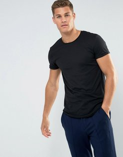 Longline T-Shirt With Raw Edges In Black - Black