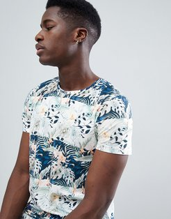 T-Shirt With Floral Stripe - Navy