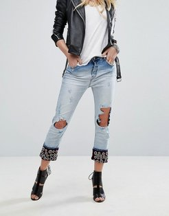 Boyfriend Jeans with Embellished Turn Up - Blue