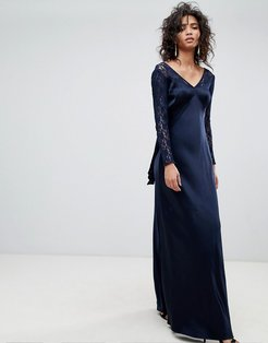 Long Sleeve Maxi Dress With Lace Bodice & Bow Back - Blue