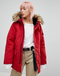 WIP Oversized Anchorage Parka Jacket With Faux Fur Hood - Red