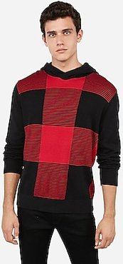 Striped Check Hooded Sweater Black Men's M Tall