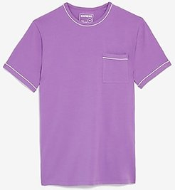 Piped Moisture-Wicking Performance Stretch T-Shirt Pink Men's XS