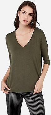 V-Neck Three Quarter Sleeve London Tee Green Women's S