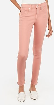 Mid Rise Denim Perfect Pink Ankle Skinny Jeans, Women's Size:18 Short