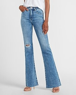 High Waisted Ripped Raw Hem Slim Flare Jeans, Women's Size:8 Long