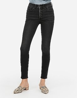 High Waisted Denim Perfect Lift Black Button Fly Ankle Skinny Jeans, Women's Size:18 Short