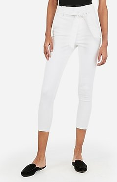 Super High Waisted Denim Perfect Belted Crop Leggings White Women's 0