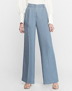 High Waisted Pleated Wide Leg Palazzo Pant Blue Women's 18