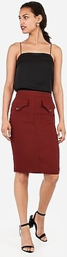 High Waisted Patch Pocket Pencil Skirt Orange Women's 14