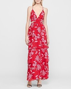 Floral Tiered Twist Back Maxi Dress Red Women's M