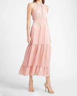 Tiered Smocked Waist Halter Neck Maxi Dress Pink Women's M