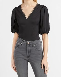 Satin V-Neck Puff Sleeve Top Black Women's XS